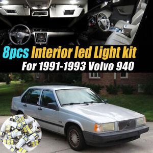 8Pc Super White Car Interior LED Light Bulb Kit for 1991-1993 Volvo 940