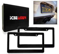 JDM 2 pcs Black Carbon Fiber Custom License Plate Snap Frame Auto Car Truck X130
