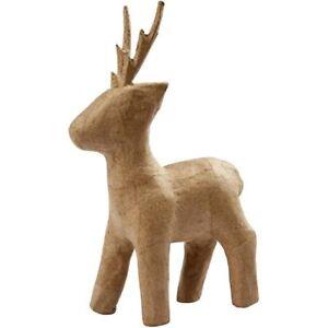 Papier Paper Mache 3D Reindeer Christmas Decoration Decoupage Decopatch 22.5cm H
