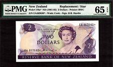 New Zealand $2 REPLACEMENT // STAR 1981-85 Prefix EA P-170a* GEM UNC PMG 65 EPQ