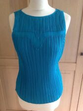 FANTASTIC PRINCIPLES PETITE JADE GREEN SLEEVELESS PLEAT FRONT TOP UK SIZE 6 WORN