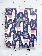 New Large Sized Clementine Spiral Notebook - Llamas, Cacti, Navy -