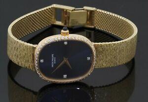 Patek Philippe heavy 18K YG 0.50CT VS1/F diamond bezel ladies mechanical watch
