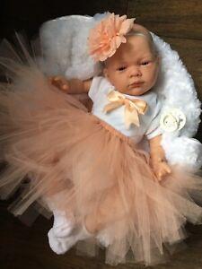 REBORN GIRL DOLL PEACH TUTU OPEN EYED BABY WITH DUMMY A