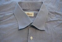 Brioni White Blue Microplaid 100% Cotton Spread Collar Dress Shirt Sz 16 Italy