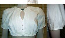 Krüger Damen Trachten Bluse in Jeansoptik mit Puffärmel Carmenausschnitt Rüschen