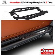 Rock Crawler Side Armor Bars For 07-16 Jeep Wrangler JK 2 Door Side Step Black