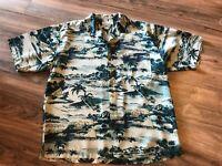 Tommy Bahama Hawaiian Original Silk Shirt Green Exotic Floral Palms Sz L Large