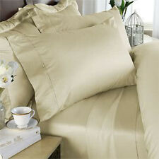 Queen Cream Solid 4 Piece Bed Sheet Set 1000 Thread Count 100% Egyptian Cotton