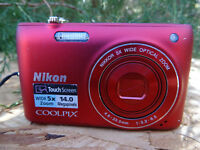Nikon COOLPIX S4100 14.0MP Digital Camera - Red w/ 2 Batteries & Charger & 16gig
