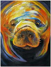 Florida Manatee - Hand Painted Impressionist Nautical Animal Oil Painting