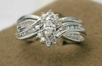 Wedding & Engagement Ring Set In 925 Silver 2.15ct Marquise Shape White Diamond