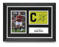Jaap Stam Signed A4 Photo Framed Captains Armband Display Man Utd Autograph