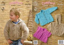 King Cole Comfort Chunky 3181 Knitting Pattern Childrens Jackets 6mths - 5 years
