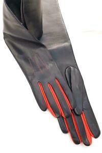 Women's Evening Red & Black Napa Soft Leather Handmade Lambskin Long Gloves