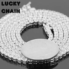 "925 STERLING SILVER ICED OUT TENNIS CHAIN NECKLACE 22""x3mm 28g ST15"