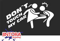 White 1105 166x99 mm Sticker // Car Decal don`t touch my car kick balls