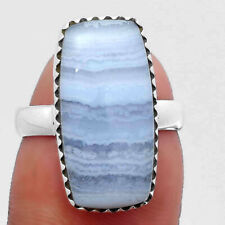 Blue Lace Agate - South Africa 925 Sterling Silver Ring s.6.5 Jewelry E265