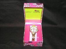 BETSEY JOHNSON TIMEPIECES LADYS WATCH BJ00335-03 GOLD-TONE CRYSTAL RHINESTONES