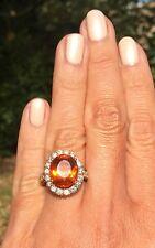 $6500 14K Yellow Gold 1+ctw Diamond 6.5ct Orange Citrine HUGE Halo Ring
