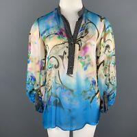 ETRO Size 12 Blue Paisley Print Silk Chiffon Blouse