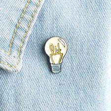 Cartoon Light Bulb Enamel Brooch Denim Jacket Collar Pin Badge Fashion Jewelry L