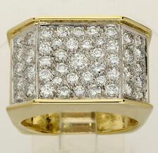 Mens VVS diamond platinum 18K yellow gold geometric ring round brilliant 1.90CT