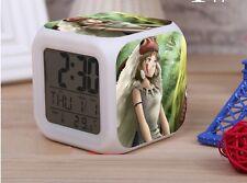 Anime Alarm Clock.Mononoke Hime.Princess.Cube Colorful Light Shifting.Ashitaka