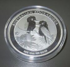 10 oz (environ 283.49 g) (10 once) 999 FINE SILVER 2013 Australian Kookaburra Pièce dans Capsule