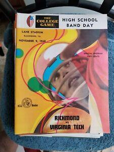 11/9/68 VIRGINIA TECH VS RICHMOND NCAA FOOTBALL  ENMGROBEE1957