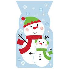 20 x Natale Pupazzo Di Neve Festa Bottino Sacchetti Regalo Favore Borse Con Twist Legami GRATIS P&P
