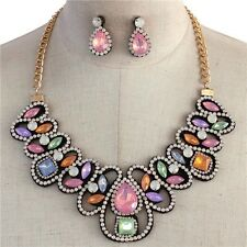 Statement Lt Multi Color Lucite Opal Stone Rhine stone Bib Necklace earring Set