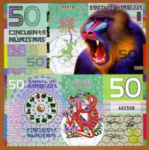Kamberra, POLYMER, 50 Numismas, 2016 China Lunar Year, UNC > Monkey