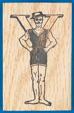 Victorian Strongman Letter Y Rubber Stamp - Initial - Vintage Exercise - Ymca