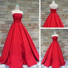 Simple Strapless Red Prom Dress A Line Formal Evening Gown Pageant Party Dress