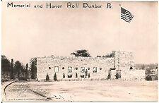 Memorial and Honor Roll at Dunbar PA RP Postcard