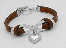 "New 7"" Earthy Brown Tone Infinity Love Heart Leather Bracelet Toggle Clasp"