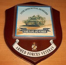 13th 18th Royal Hussars Veteran Wall Plaque with name, rank and number