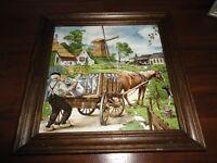 Dutch Artist Hunnik Royal Mosa Holland CERAMIC TILE Hand Painted Dairy Farmer