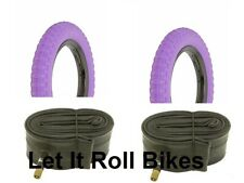 "Bicycle 2 Tires 2 Tubes 12-1/2"" x 2-1/4"" All Purple BMX Cruiser Lowrider Bikes"