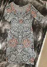 Peruvian Connection Fitted Sweater Dress Pima Cotton Gray Floral Print
