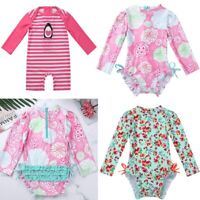 Toddler Girls One Piece Zip Rash Guard Sun Protection Swimsuit Swimwear Wetsuit