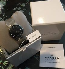 SKAGEN Denmark Stainless Steel Women's Quartz Watch Black Dial Swarovski Markers