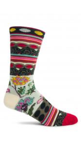 Fille Ozone Women's Crew Socks Black Floral New X-Large Diva 8.5 -12 Fashion