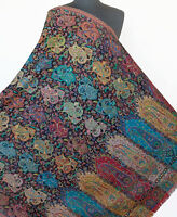 Rainbow of Colors on Black Hand-Cut  Pashmina Kani Wool Paisley Jamavar Shawl