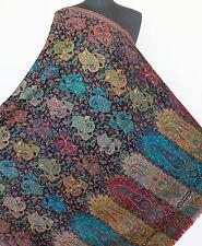 Rainbow of Colors on Black Hand-Cut  Pashmina Kani Wool Paisley Jamavar Shawl