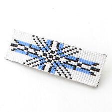 BLUE WHITE GEOMETRICAL ART BEADWORK BEADED HAIR BARRETTE FRENCH CLIP Z25/3