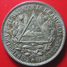 """1914 EL SALVADOR 25 CENTAVOS SILVER """"15 DE SEPT DE 1821"""" RARE VARIETY COIN TONED"""