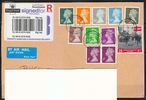 Great Britain 2011 cover sent to Lithuania. NICE FRANKING !!! High values