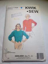 Kwik Sew 1709, Misses Tops, Sizes XS-L. Preowned Uncut.